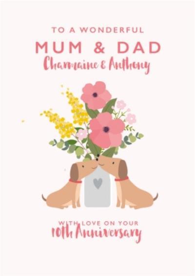 Cute Sausage Dog Floral Mum & Dad Anniversary Card