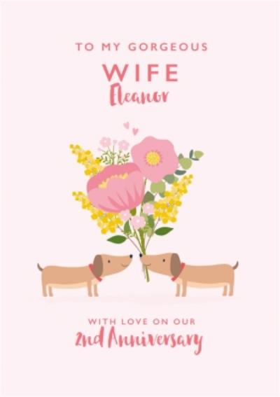 Cute Sausage Dog Floral Wife Anniversary Card