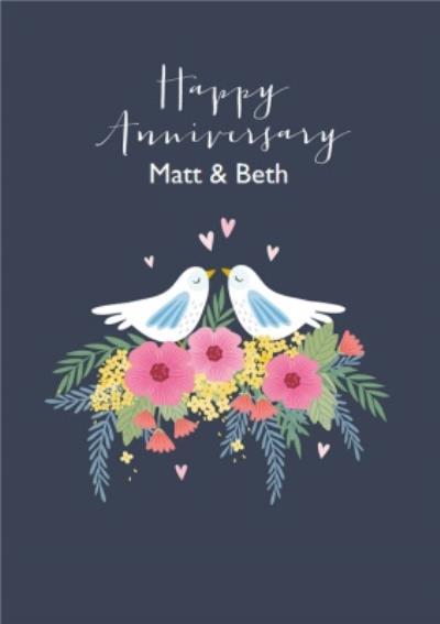 Cute Dove Floral Anniversary Card