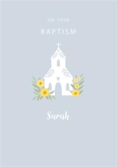 Klara Hawkins Floral Church Baptism Card