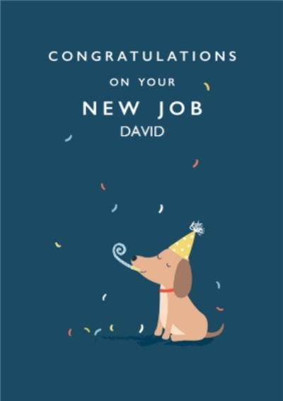 Cute Dog With Party Hat And Blower Personalised New Job Card