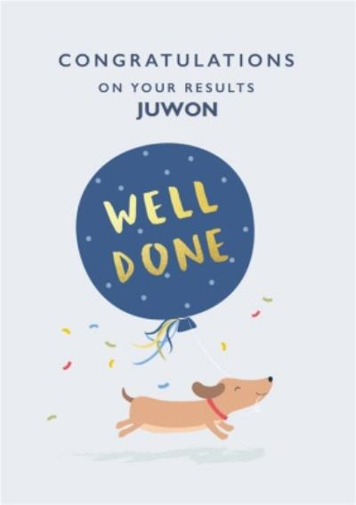 Cute Illustrated Running Dog Blue Balloon Well Done Exams Card