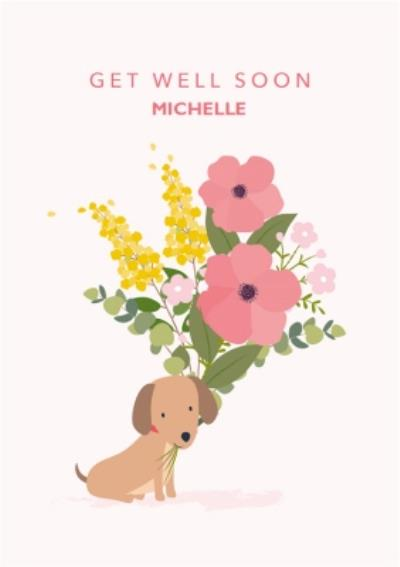 Cute Sausage Dog Floral Get Well Soon Card