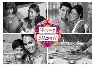 Black And White 4 Square Grid Personalised Photo Upload Happy Diwali Card