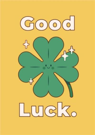 Four Leaf Clover Good Luck Card