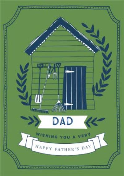 Bright Green Garden Shed Illustration Father's Day Card