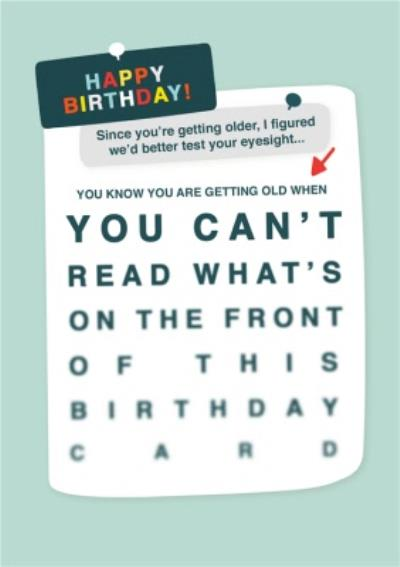 You Know You're Getting Old Eye Test Birthday Card