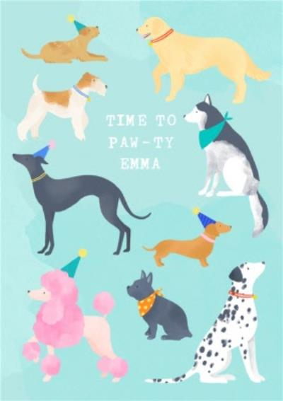 Illustrated Dogs Time to Pawty Birthday Card
