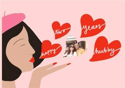Katy Welsh Photo Upload Happy Two Years Hubby Anniversary Card