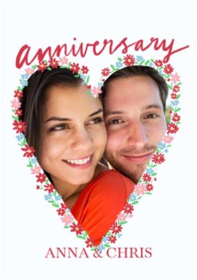 Katy Welsh Photo Upload Floral Heart Happy Anniversary Card