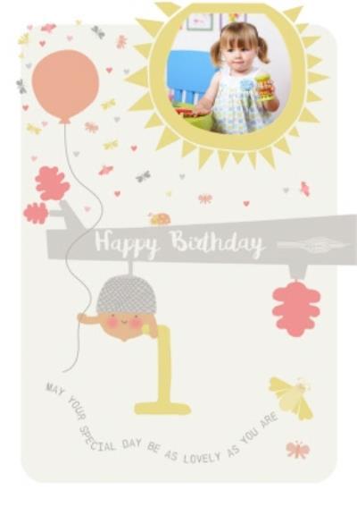 1st birthday photo upload card