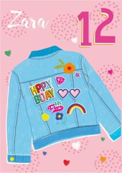 Laura Darrington Modern Illustrated Denim Jacket 12 Today Birthday Card