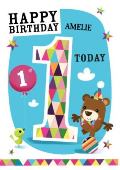 Little Balancing Bear Personalised Happy 1st Birthday Card