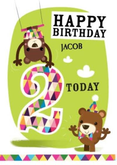 Playful Trapeze Bears Personalised Happy 2nd Birthday Card