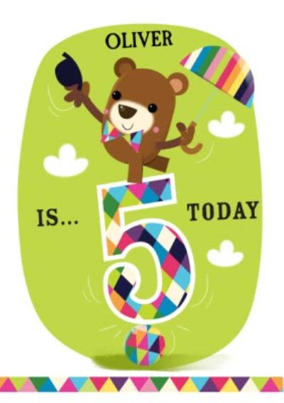 Balancing Bear Personalised Happy 5th Birthday Card