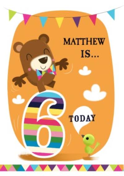 Balancing Bear Personalised 6th Birthday Card