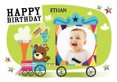 Baby Bear Train Ride Personalised Photo Upload Happy Birthday Card