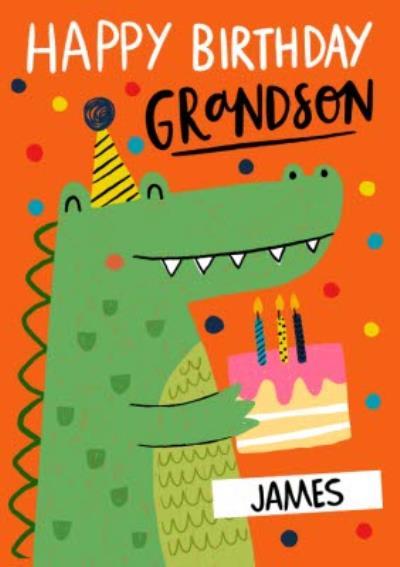 Happy Birthday Grandson Quirky Crocodile Birthday Cake Card