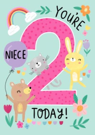 Niece You're 2 Today Cute Quirky Ilustrated Animals Birthday Card