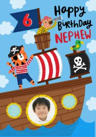 Pirate Illustration Photo Upload Nephew Birthday Card