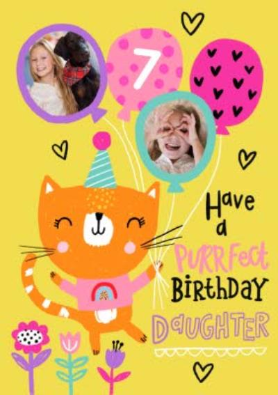 Have A Purrfect Birthday Daughter Cat and Balloons Photo Upload Card