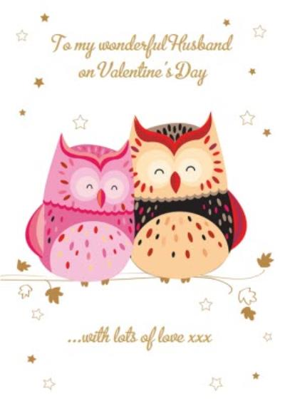 Owls In Love Personalised Happy Valentine's Day Card For Husband