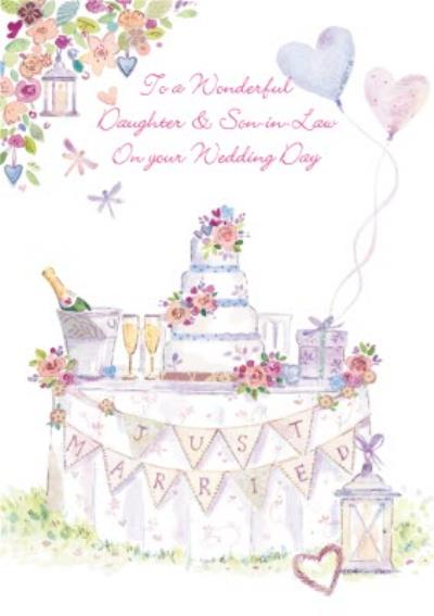 Just Married Congrats Daughter And Son-In-Law Wedding Card