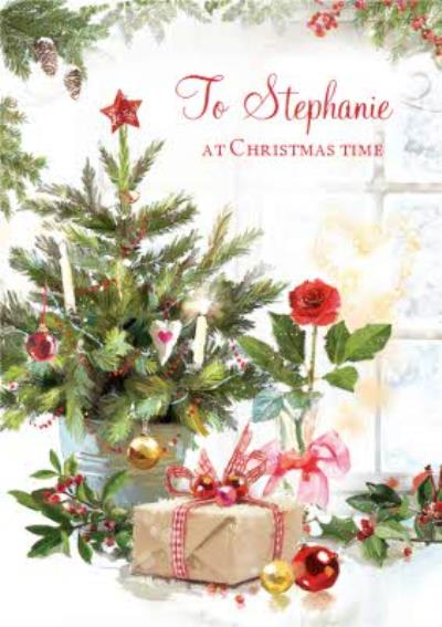 Festive Winter Scene At Home Personalised Christmas Card