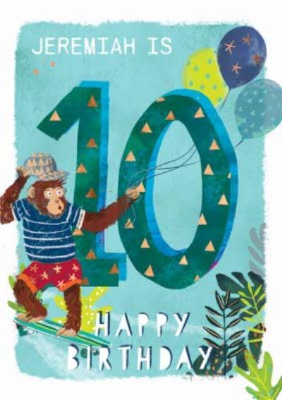 Ling design - Kids Happy Birthday card - Monkey 10  Today