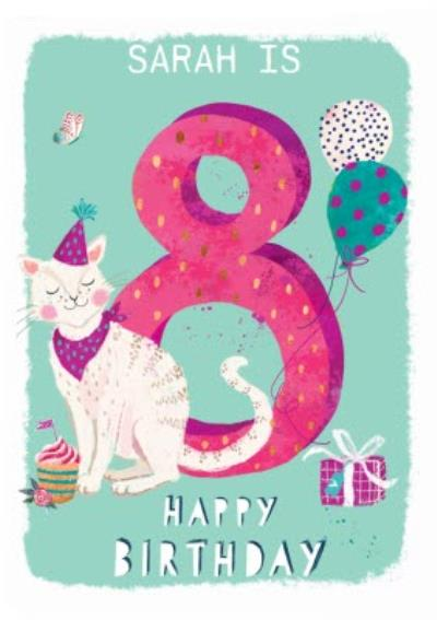 Ling design - Kids Happy Birthday card - Cat 8 Today