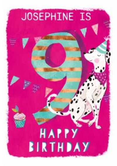 Ling design - Kids Happy Birthday card - Dalmatian dog - 9 Today