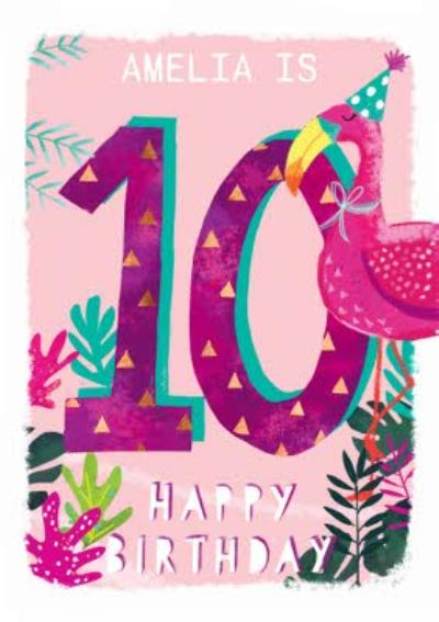Ling design - Kids Happy Birthday card - Flamingo - 10 Today
