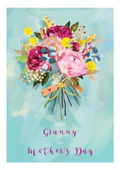 Bright Watercolour Flower Bouquet Personalised Mother's Day Card for Granny