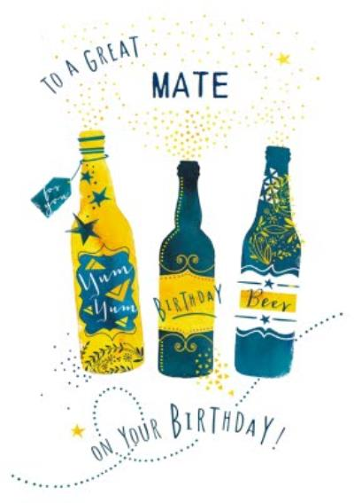 Illustrative beer Birthday card To a great mate on your birthday