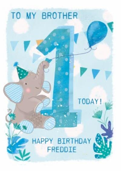 Party Elephant 1st Birthday Card For Brother