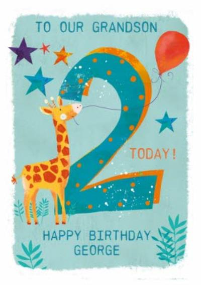 Party Giraffe 2nd Birthday Card For Grandson