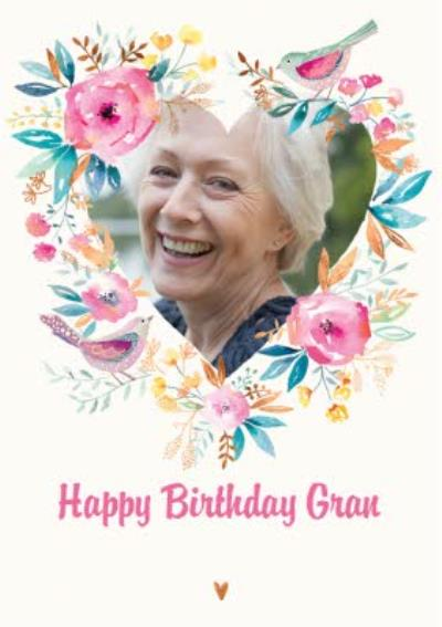 Watercolour Flowers And Birds Happy Birthday Gran Traditional Photo Card