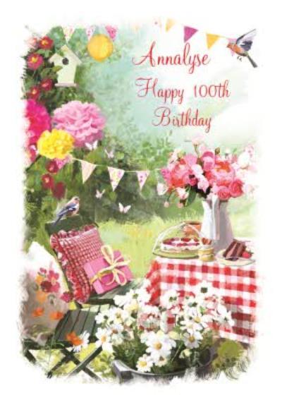 Traditional Garden Afternoon Tea Happy 100th Birthday Card