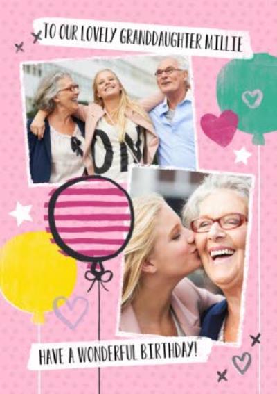 Bright Balloons Happy Birthday Granddaughter Photo Card