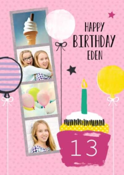 Bright Pink Balloons And Cupcake Happy Birthday Photo Card