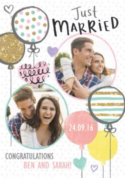 Spots And Stripes Balloons Personalised Double Photo Upload Just Married Card