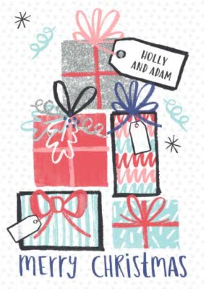 Illustrated Presents Personalised Merry Christmas Card