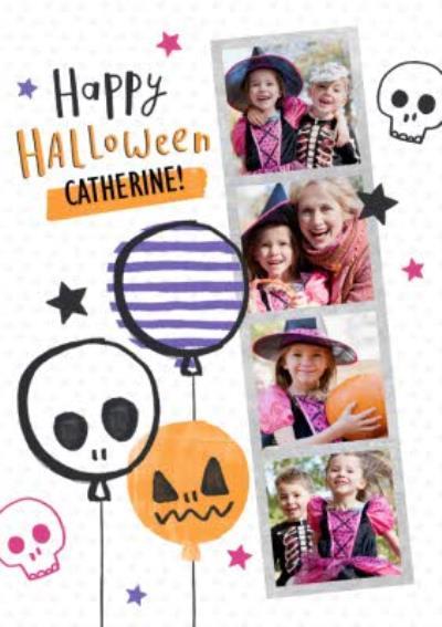 Scary Balloons Happy Halloween Multi-Photo Card