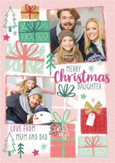 Christmas Wishes Pink Photo Upload Christmas Card