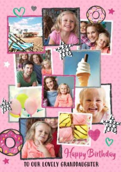 Doughnuts Stars and Hearts Muliti Photo Upload Granddaughter Birthday Card