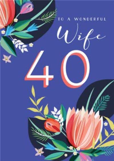 Wife Purple Floral 40th Birthday Card