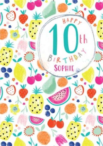 Colourful Fruit Illustration 10th Birthday Card