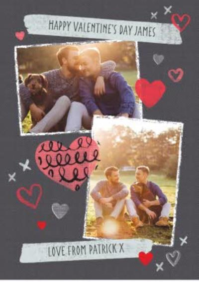 Grey And Red Hearts With Double Photo Upload Valentine's Day Card