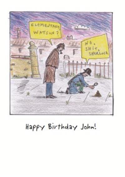 Cartoon Sherlock Personalised Birthday Card