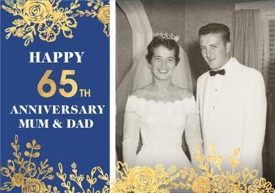 Gold Foiled Flowers 65th Blue Sapphire Anniversary Photo Upload Card